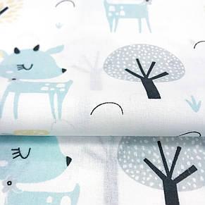 """Польская хлопковая ткань """"Косули, ёжики в лесу на белом фоне """", фото 2"""