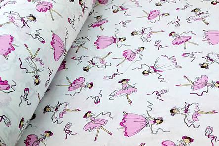 """Польская хлопковая ткань """"балерины розово-белые на белом"""", фото 2"""