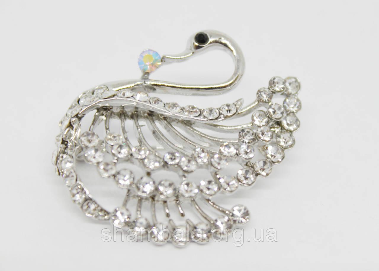 """Брошь Fashion Jewerly """"Лебедь со стразами"""" серебро (017976)"""