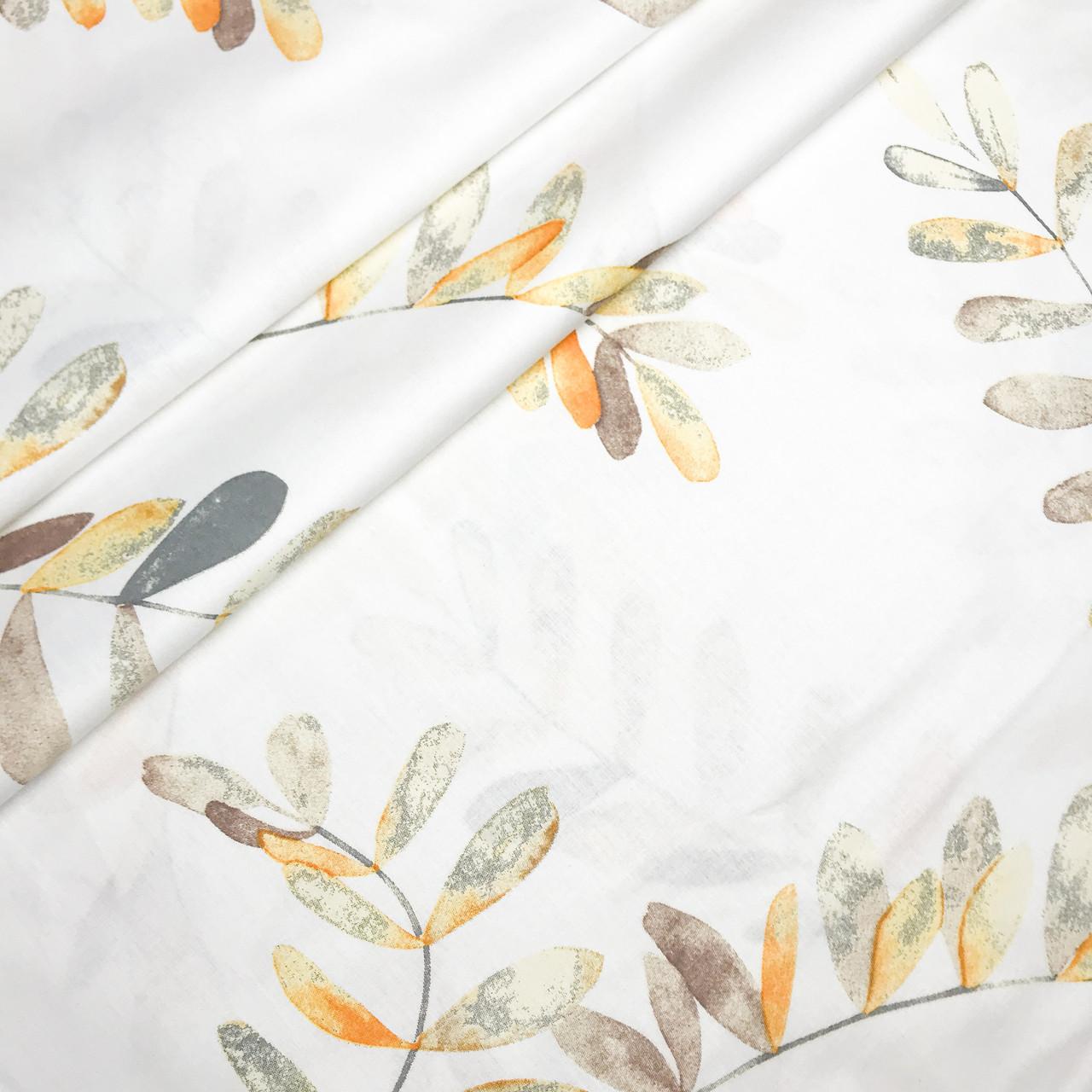 """Турецкая хлопковая ткань ранфорс """"Листочки эвкалипта оранжевые на белом"""" 240 см"""
