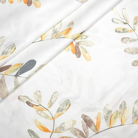 """Турецкая хлопковая ткань ранфорс """"Листочки эвкалипта оранжевые на белом"""" 240 см, фото 2"""