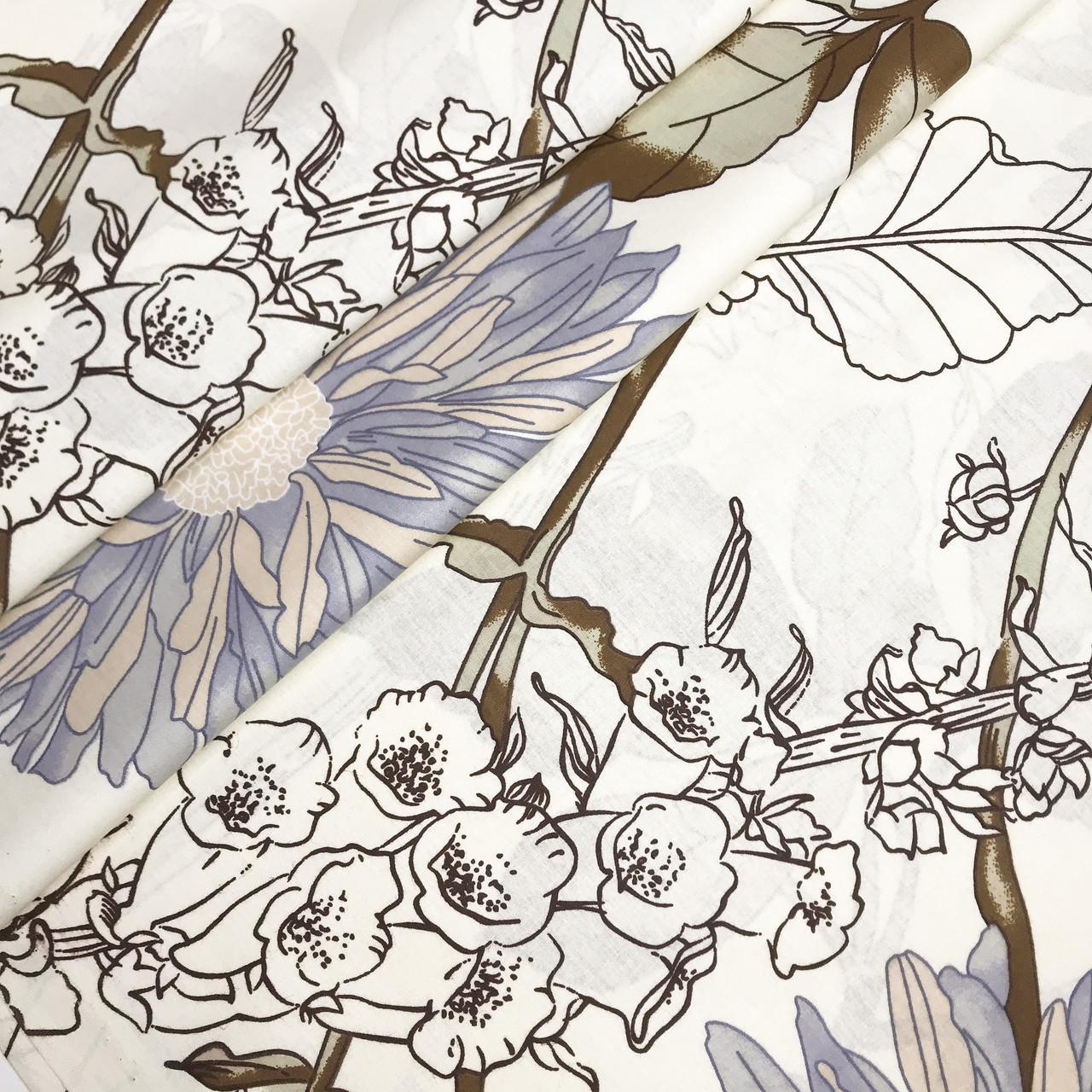"""Турецкая хлопковая ткань ранфорс """"Бирюзовые астры с колокольчиками на белом"""" 240 см"""