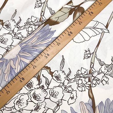 """Турецкая хлопковая ткань ранфорс """"Бирюзовые астры с колокольчиками на белом"""" 240 см, фото 2"""