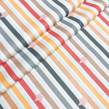 """Турецкая хлопковая ткань ранфорс """"Звёзды розовые на разноцветных полосках"""" 240 см, фото 2"""