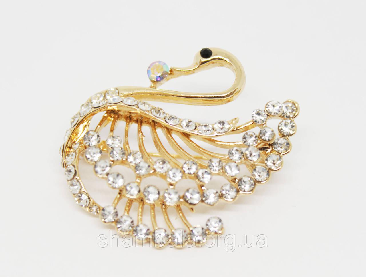 """Брошь Fashion Jewerly """"Лебедь со стразами"""" золото (017976)"""