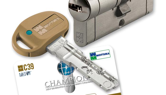 Цилиндр Mottura Champions C39 92 (46x46T) 5KEY+1KEY ключ-тумблер матовый никель 57811
