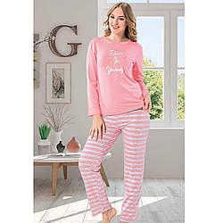 Піжама для дівчат рожева брючна для сну бавовняна Belive S-XL L