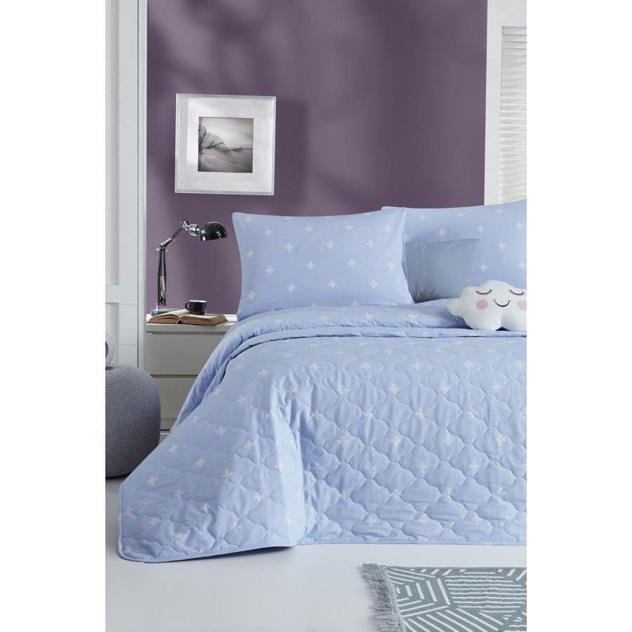 Покрывало стеганое с наволочками Enlora Home - Arti Mavi голубой 240*225