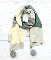 Шарф Pashmina Николь с помпонами 180*60 см светло-серый