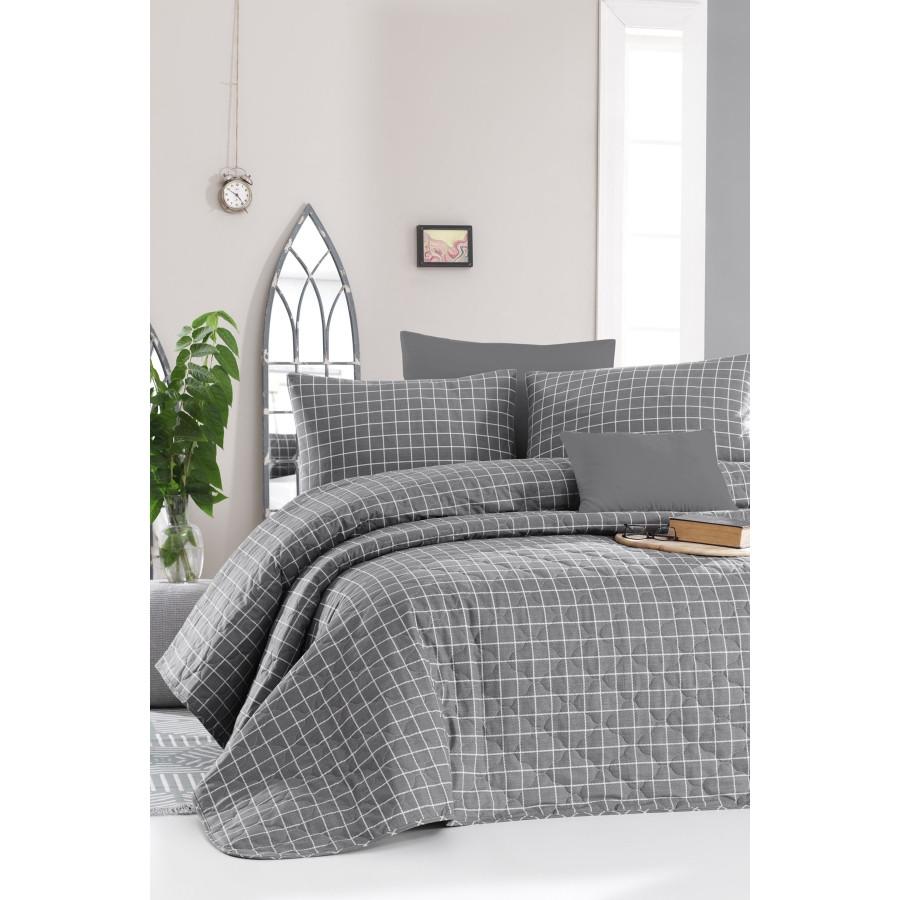 Покрывало стеганое с наволочками Enlora Home - Karira K.Gri темно-серый 240*225