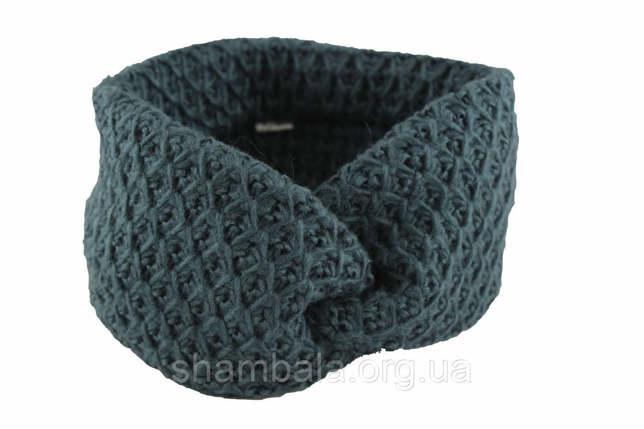 Вязаная повязка на голову Тёмно-лазурный (087276)