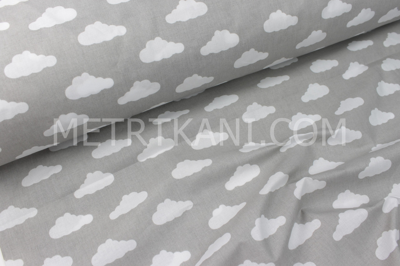 """Ткань хлопковая  """"Облака"""" белые  на сером фоне  №1760"""