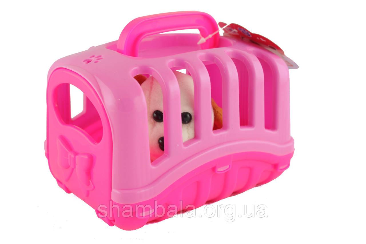 Игрушка собачка мягкая в переноске Pets Розовый Собачка в домике  (067346)