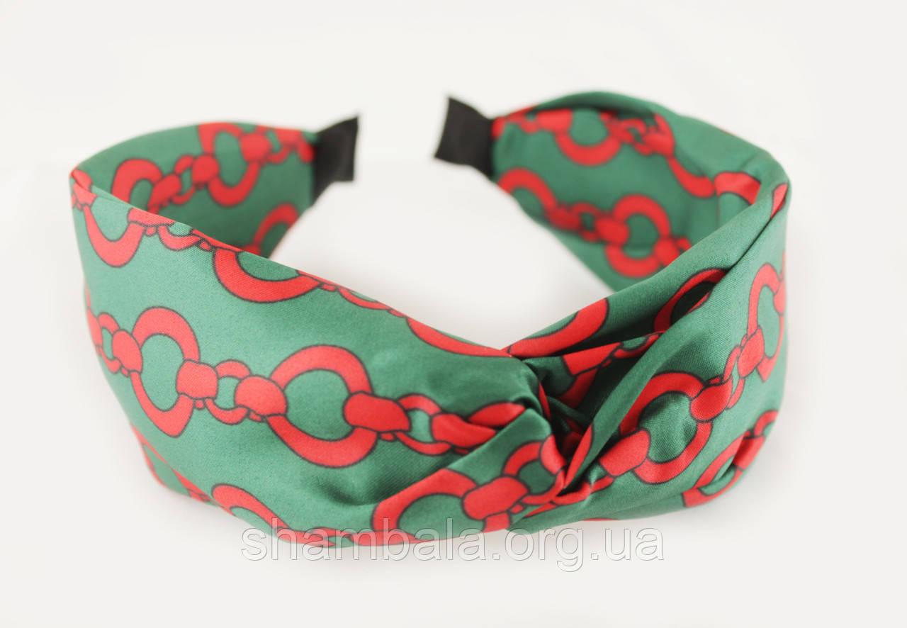 Обруч-чалма для волос Chain зеленый (061627)