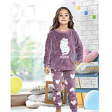 Пижама для девочки детская теплая зимняя турецкая Котик Meow 6-13 лет