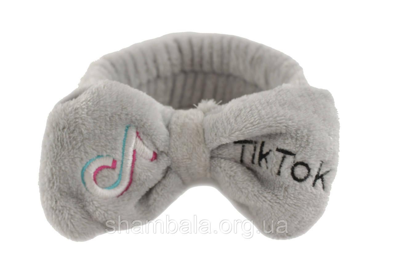Повязка косметическая Tik Tok для фиксации волос Серая (052359)