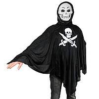 Взрослый плащ Скелет - Весёлый Роджер с маской