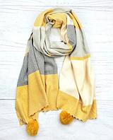 Шарф Pashmina Николь с помпонами 180*60 см желтый