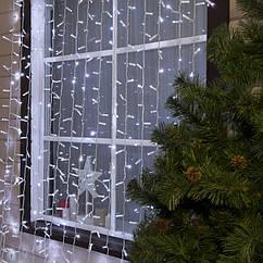 Гирлянда уличная Штора Alphatrade 2*2 м, 216 диодов, белый провод, цвет белый холодный, с мерцанием flash