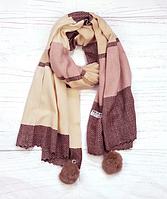 Шарф Pashmina Николь с помпонами 180*60 см бордовый/пудровый