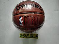 Мяч баскетбольный PU  SPALDING NBA ,размер 7(PU, бутил, коричневый,полоса), фото 1
