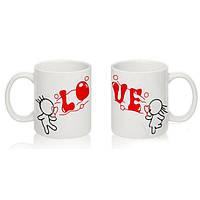 """Парные белые чашки (кружки) с принтом """"Love"""""""