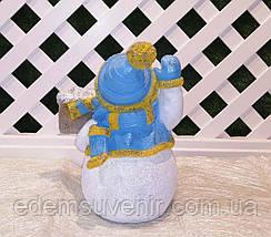 "Новогодняя садовая фигура Снеговик в голубом с табличкой ""З Новим роком!"", фото 3"