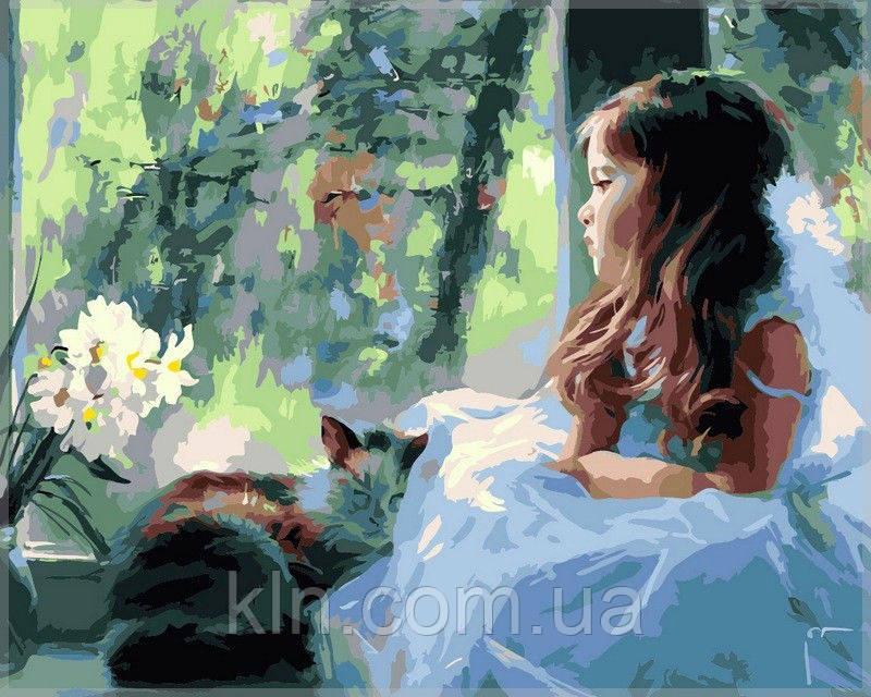 Картина по номерам Babylon Девочка вместе котом VP028 40 х 50 см