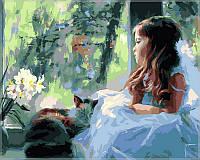 Картина по номерам Babylon Девочка вместе котом VP028 40 х 50 см, фото 1