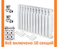 Радиатора отопления биметаллический BITHERM 80 Bimetal-500L Комплект вентиль ХРОМИРОВАННЫЙ прямой