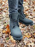 Зимние мужские ботинки теплые термо T1mberland classic 6 inch Black без меха. Живое фото. Премиум реплика, фото 7