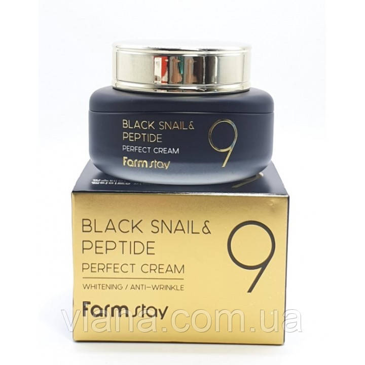 Крем с муцином черной улитки и пептидами FarmStay Black Snail & Peptide 9