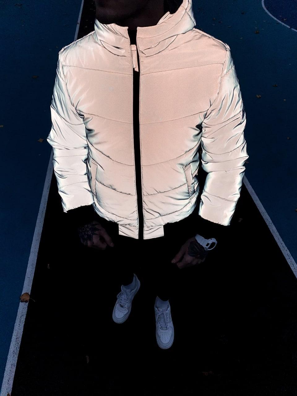 Мужская куртка зимняя рефлектив с капюшоном. Мужская теплая зимняя курточка рефлективная с капюшоном.