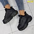 Женские кроссовки буффало на меху, черные, р.36,39, фото 4