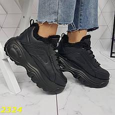 Женские кроссовки буффало на меху, черные, р.36,39, фото 3