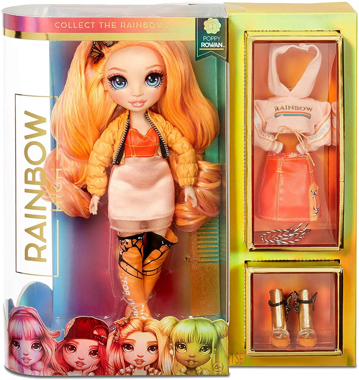 Кукла Рейнбоу Хай Поппи Роуэн оранжевая MGA Rainbow Surprise Rainbow High Poppy Rowan