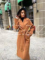 Шикарне довге пальто класичного крою з поясом