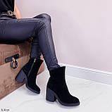 Женские ботильоны ДЕМИ / осенние на каблуке 9,5 см черные натуральная замш, фото 7