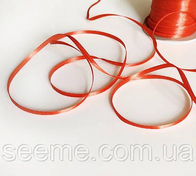 Лента атласная, 3 мм, цвет красный