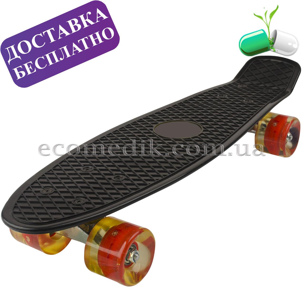 Пенни борд черный скейт со светящимися колесами penny skate 22