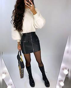 Модная женская юбка на молнии из экокожи 42-44 р