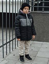 Детская зимняя куртка Staff titl black & gray чёрный/серый MBM0081