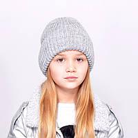 """Детская шапка """"Лола"""" светлый серый"""