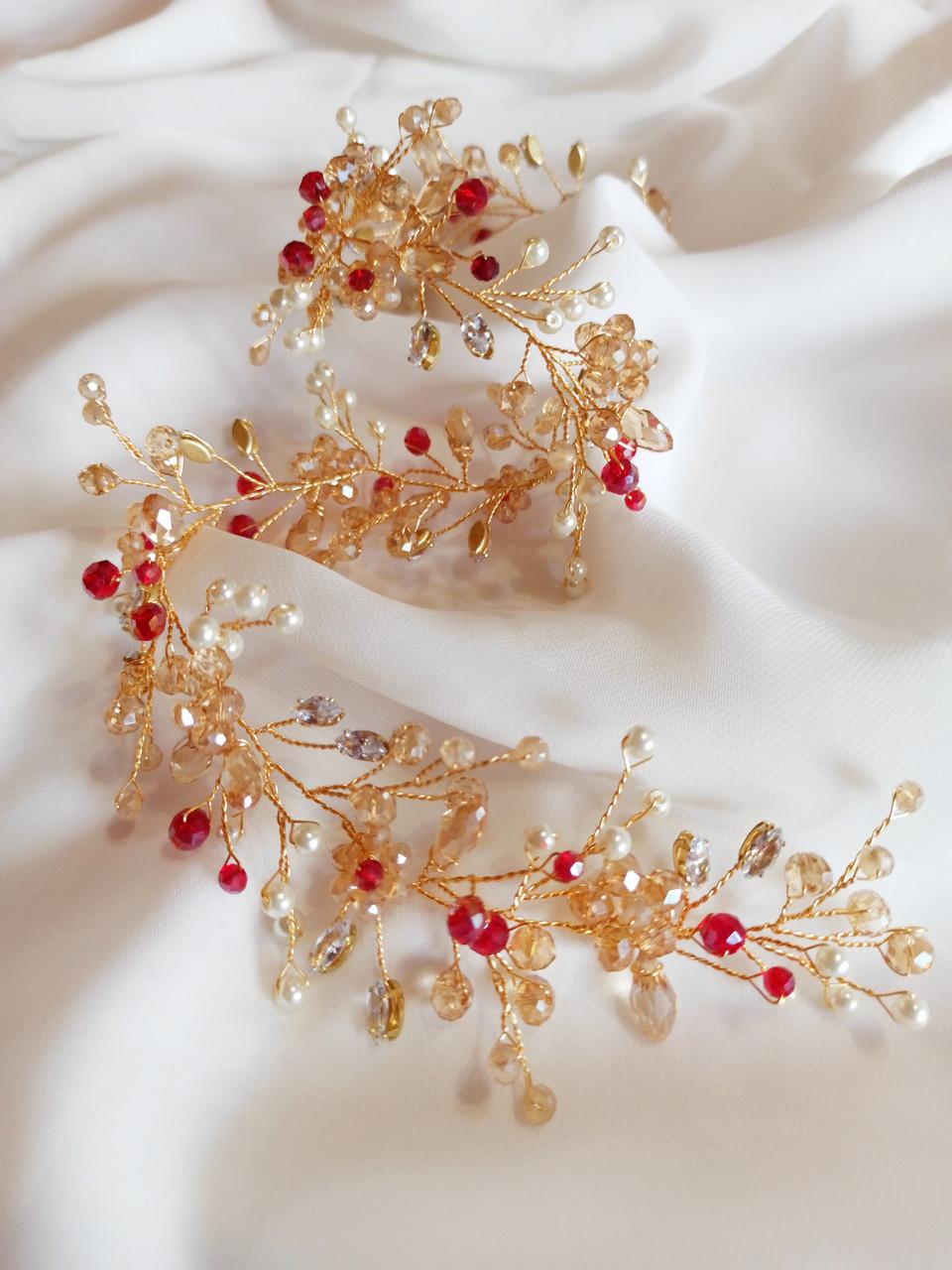 Свадебное украшения, веточка в прическу невесты золотого цвета, ювелирная проволока