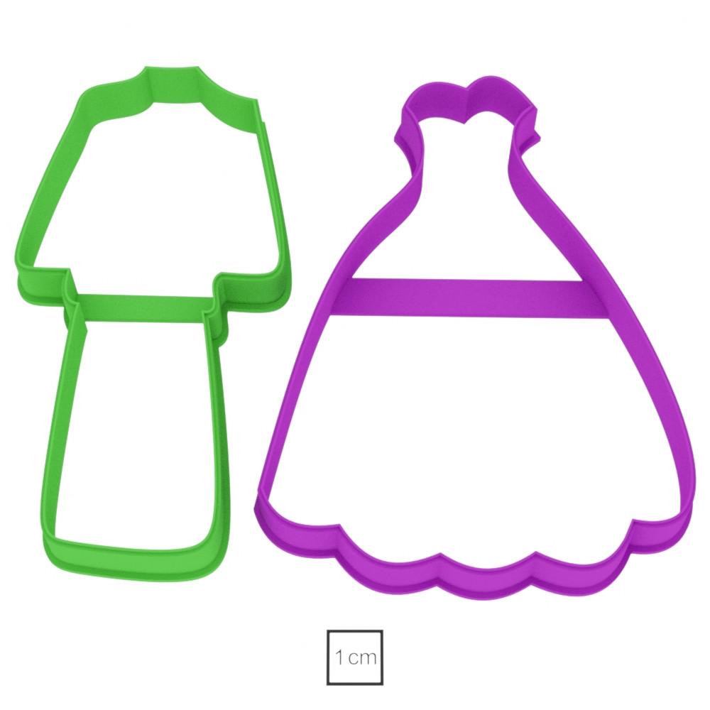 Висічка для пряників у вигляді плаття та костюму