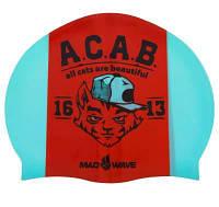 Шапочка для плавания MadWave A.C.A.B. M055823000W (силикон, бирюзовый-оранжевый) Код M055823000W