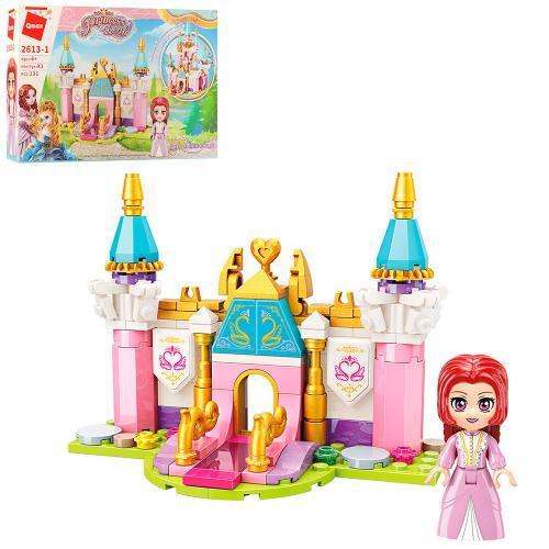 Конструктор Qman 2613-1 (64шт) замок принцессы, фигурка, 131дет, в кор-ке, 22-14,5-4,5см