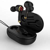 Вакуумные беспроводные Bluetooth наушники в черном кейсе L2