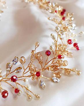 Свадебное украшения, веточка в прическу невесты золотого цвета, ювелирная проволока, фото 2