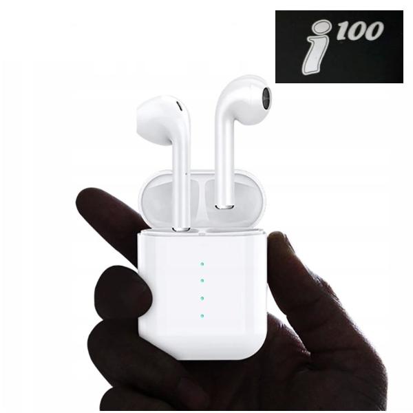 Беспроводные Bluetooth наушники в белом кейсе i100
